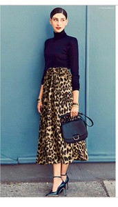 Leisure Style Casual Plius Size Female Clothing Summer Womerns Designer Skirts Leopard Printed Panelled Skirts Urban