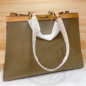 De compras da lona de grande capacidade Pacote bolsa para compras Acessórios de Metal Moda Letra F Vire cadeado aberto clássico de alta qualidade sacos de mulheres