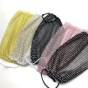 Bling Bling Diamond Face Mask Fashion Trend Nightclub Bar Rhinestones Masks Washable Reusable Fishing Net Face Mask Wholesale HWF710