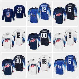 Custom 6 Jack Hughes USA 2019 IIHF World Championship Jerseys Mensa 88 Patrick Kane Chris Kreider Clayton Keller Ryan Suter Dylan Larkin