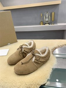 Winter super warm woolen ankle boots genuine leather cow suede lace-up casual shoes lovely lady tassel shoes