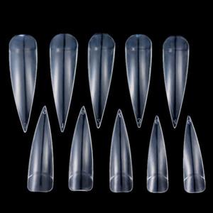novo 500x Artificial longa e afiada Nail Art Tips Stiletto Pointy falsificação falso cobertura completa