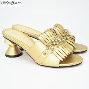 Gold Heels Women Wedding Shoes Decorated with Rhinestone High Quality Nigerian Party Pumps 7.5cm High Heels For Party D28-14