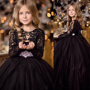 Nova baratos preto vestido de baile Meninas Pageant Dresses Lace mangas compridas Cristal Belt Bow Princesa Tulle Puffy aniversário Vestidos crianças Floristas