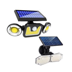 LED الشمسية الجدار الخفيفة للتدوير 3 طرق PIR رئيس الحركة LED أضواء مزدوجة المسار حديقة في الهواء الطلق الخفيفة للطاقة الشمسية