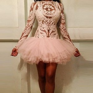 Sexy See Through Short Prom Dresses Lace And Tulle Robe De Soiree Mini Party Cocktail Dresses Full Sleeve Evening Gowns Cheap