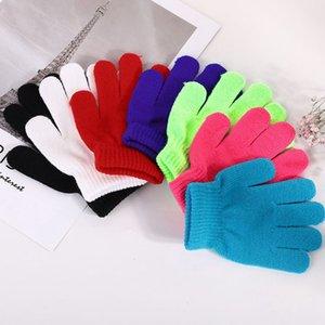 los niños de invierno manoplas calientes del color de bloque completo de dedo calientes niño niños guantes de punto chica al aire libre guante KKA8065