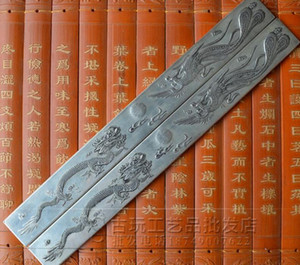 A large number of students, the four treasures of the study, the retro white copper ruler, dragon and phoenix, antique paperweight