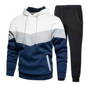 EU Size Mens Tracksuits Contrast Colors Hooded Sweatsuits for Male Trendy Couple Clothing Two Piece Sets
