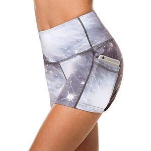 Sexy Tie-dye Yoga Shorts Ladies Sport Workout Tight Athletic TrouseWomen Fitness Gym Pockets High Waist Yoga Short Legging