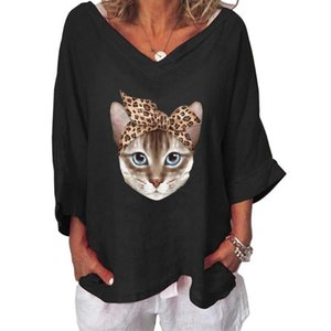 VICABO Casual Winter Autumn T-shirt Oversized Cat Print Women Clothing Long Sleeve V-neck Female Tops 2020 New LooseTshirts