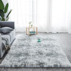 Shaggy Tintura tappeto stampato Alfombra peluche Piano Fluffy Mats Kids Room Faux Fur coperta di zona Soggiorno Mats Silky Tappeti
