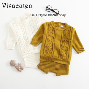 New Baby 2pcs Set Pullover + Shorts Girls Boys Knitted Wool Clothes Suit Hollow Out Winter Newborn Toddler Longsleeve Clothes