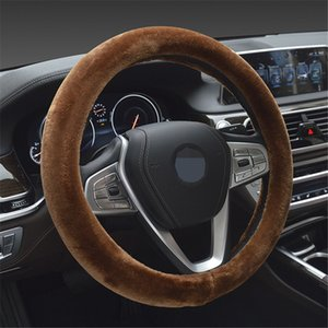 Car Steering Wheel Cover Braid On The Steering-wheel Winter Warm Covers Car Styling Interior Accessories