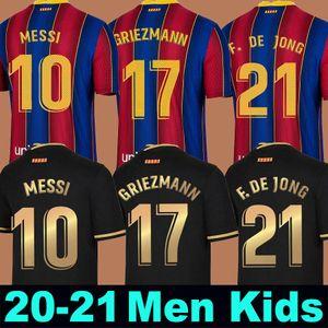 FC BARCELONA camisa de futebol 20 21 camiseta de futbol Ansu FATI 2020 2021 Messi Griezmann de Jong Maillots de camisa de futebol kit Men + Crianças