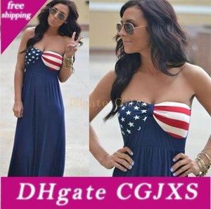 American Flag 4th Patriotic American Flag maxi Beach estivi di luglio di estate delle donne Boho Beach Dress M204