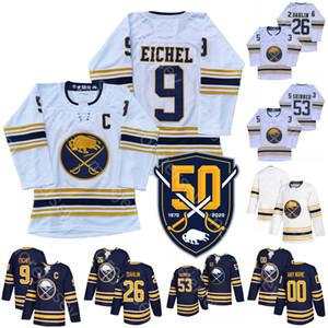 Personalizado Buffalo Sabres Hóquei no Gelo Jersey Jeff Skinner Rasmus Dahlin Jack Eichel 50º remendo Tamanho S-3XL Tudo costurado e bordado Tamanho S-3XL