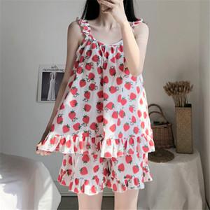 XIFER nuovo di estate donne coreane Sling Fragola Pigiama puro cotone Studente dolce principessa Style Home Service Suit