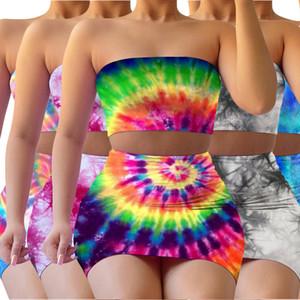 Женщины Tie Dye двух частей платье Градиент Sexy верхней части пробки Высокая талия пакет бедра юбка Famale Тонкий Наборы