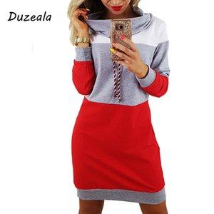 Hot Sale Duzeala Frauen-Winter-Pullover mit Stehkragen Langarm-Kapuzen Plus Size 2018 Autumn Striped bunte Hoodie Kleid Sweatshirt Kleid