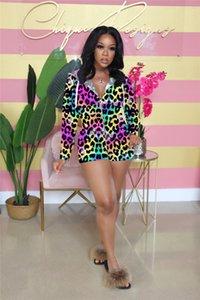 Floral leopardo de moda de verano con capucha para mujer del mono Imprimir Womens mamelucos atractivos ocasionales Ropa para la mujer Dropshipping Diseñador