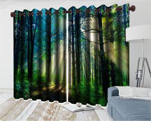 3d moderna tenda di finestra romantico paesaggio 3d sipario Dreamy Forest Park Soggiorno Camera da letto Cucina Finestra Blackout Curtain