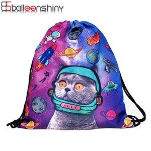 Coulisse giocattolo BalleenShiny Storage Bag Cat 3D Stampato della moda di New Donne Travel Shoe Pouch lavanderia trucco Organizer
