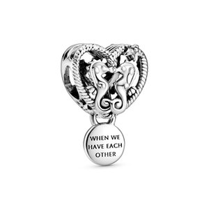Nuovo ALE autentico Argento 925 Openwork Charms Cavallucci marini cuore incanta i branelli Designer fai da te per gioielli di moda fare braccialetti di Pandora