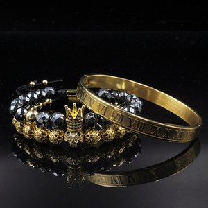 Men bracelet Jewelry 3pcs Set Crown Jewelry Bileklik Hematite Beads Braiding Bracelets For Women Pulseira Masculina Feminina