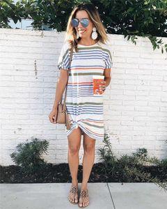 Vêtements d'été au-dessus du genou été Designers Womans Dresss Mode col rond rayé à manches courtes Femme Robe Femme