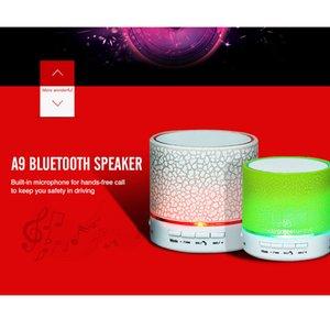 Мини портативной S10 A9 потрескивания текстура Bluetooth Speaker со светодиодной подсветкой можно вставить U диск, телефон-плеер мобильного с розничной коробкой 01