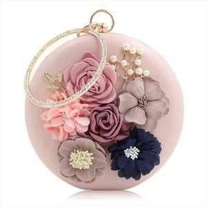 9 Colors Chic Women Evening Bag Round Flower Dinner Party Wedding Clutch Shoulder Ladies Design Evening Handbag Purse