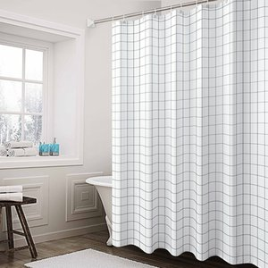 Shower Curtain Simple Gray V Grid 160 Gram Weight Polyester Fabrics Shower Curtain Hotel Mildew-Proof Bathroom Curtain Custom