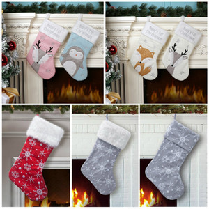 Christmas Stocking Christmas party Decoration Xmas kids candy bags Cute fox Penguin Xmas socks kids party favor gift T9I00503