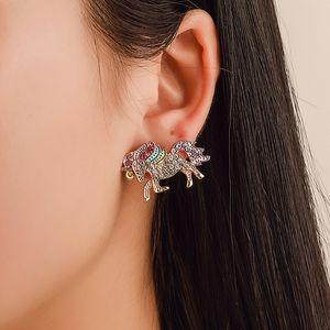Tiny Trendy Colorful Crystal Unicorn Earrings Charming Cute Animal Earrings For Women Wedding Jewelry Gift