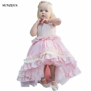 Ball Gown Pink Flower Girl Dress Short Front Long Back Wedding Party Gowns With Ruffles FLG027