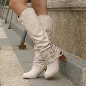 Hot Sale- Women Long Boots New Rivets Bukle Shoes Rivet Rhinestone Chunky High Heels Pu Leather Boots Ladies Western Cowboy Ankle Boots Sexy