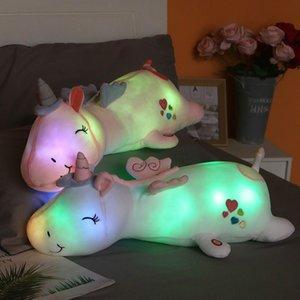 1PC 60CM لطيف متوهجة LED ضوء يونيكورن القطيفة جميل مضيئة الحيوانية يونيكورن وسادة محشوة الدمى للأطفال هدايا للأطفال المضاء لعب