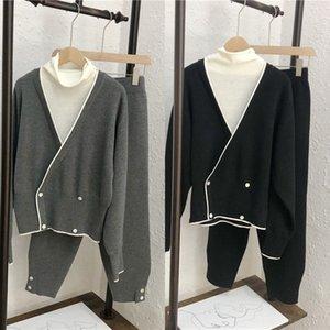 OZBtj principios de la primavera 2020 nuevo cuello alto íntima + V-cuello chaqueta de punto falso de dos piezas superior cerrada pantalones de nabo suéter suéter de la tapa pantalones de rábano kn