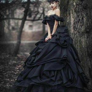 Black Gothic Wedding Dresses A Line Off The Shoulder Satin Tiered Skirts Vintage Wedding Gowns Chic Custom Made Vestido De Novia