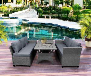 US Stock! Outdoor Furniture PE rotin en osier Conversation Set All-Weather Canapé avec table coussins moelleux SH000073AAE