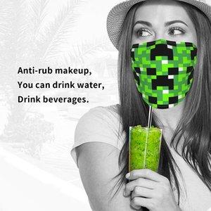 Minecraft maquillage frotter contre le masque anonyme Ouvrir un écran facial eau potable masque feuille simple impression pleine largeur tissu en soie de glace stéréotypes