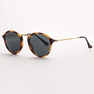 2020 Top Quality fashion Hot Sale 2447 round fleck sunglasses women 49mm glass lens mirror tortoise sun glasses Gafas UV400