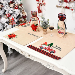 46*34cm Chirstmas Place Mat Table Cover Red Car Flower Printed Tablecloth Dinner Chirstmas Decorations For Home Kitchen Place Mats LJJP411