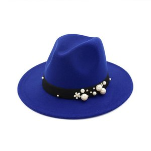2020 lã chapéu de feltro Panama Jazz Fedoras chapéus com Pérola plana Brim formal do partido e estágio Top Hat por Mulheres homens unisex