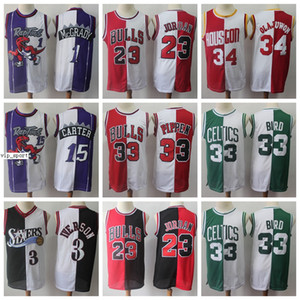 Split Dos colores Jerseys de baloncesto Allen iverson Pippen Hakeem Olajuwon Tracy McGrady Vince Carter Larry Bird White Green
