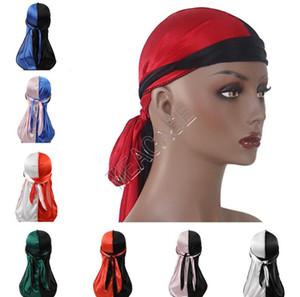 Designer Durags Patchwork Farbe Turban Shiny Silky Durag Bandana Männer Frauen Long Tail Pirate Caps Stirnband-Haar-Abdeckung Zubehör D82412