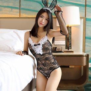 Yi Yi ropa interior atractiva 7952 de la entrepierna juego atractivo adulto conejito ropa interior pijamas pijamas transparentes de la tentación uniforme camisón femenino fhzKi