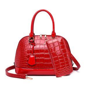 Popular For Gloss Women Crocodile Bags Handbags Luxury Set Hobo Designer Leather Wallet Purse Patent Shell Ladies Shoulder Fashion Tclcf