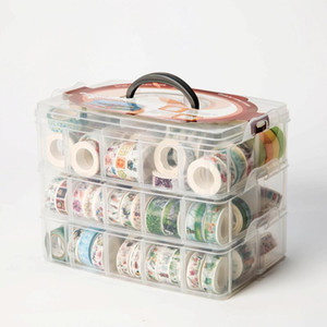 Multi-function Large Slots 3 Tiers Plastic Removable Storage Box Paper Tape Multi-grid Storage Case Transparent Suitcase